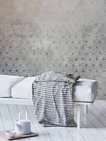 Шпалери вінілові Grandeco One roll one motif 2 A35101 панно 3д лофт штукатурка під бетон сніжинки сірі бежеві, фото 1
