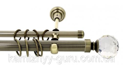 Карниз для штор двойной ø 16+16 мм, наконечник Кристалл шар
