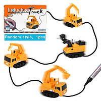 Индуктивная пластиковая машинка Inductive Truck для гоночного трека, от батареек LR44, детские игрушки, детские машинки