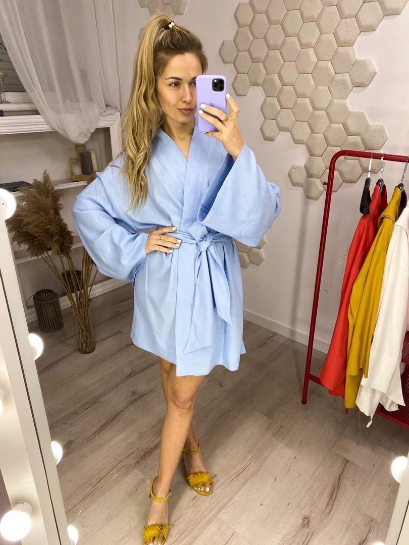 Женское льняное платье-кимоно размер 42-46 голубое