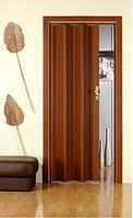 Дверь гармошка ОРЕХ глухая, складная, двери  раздвижные межкомнатные ПВХ, скрытые двери пластиковые Folding