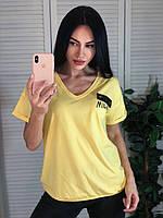 Легкая трикотажная женская турецкая  футболка с рисунком, желтый