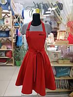 Фартук-сарафан с вышивкой имени \ логотипа \ текста красный, фото 2