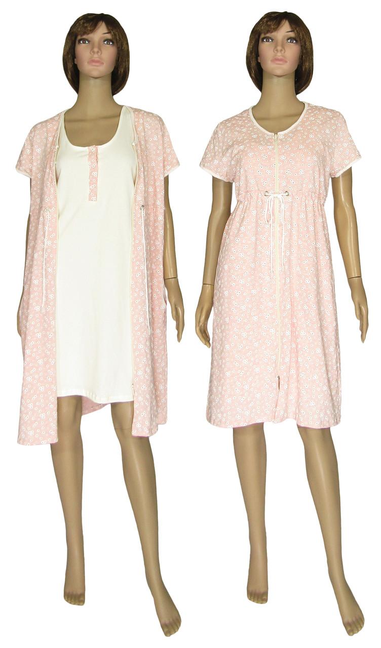Комплект женский домашний, ночная рубашка и халат 18029 Fashion Patterns коттон Пудровый