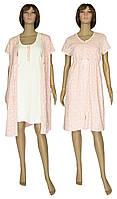 Комплект женский домашний, ночная рубашка и халат 18029 Fashion Patterns коттон Пудровый, фото 1