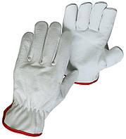 Перчатки рабочие, мягкая лицевая кожа, открытый манжет, флисовая подкладка 1202