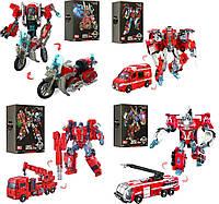 Металлические трансформеры Мотоцикл, Скорая помощь, Пожарная машина, Машина с краном, Гусеничный экскаватор