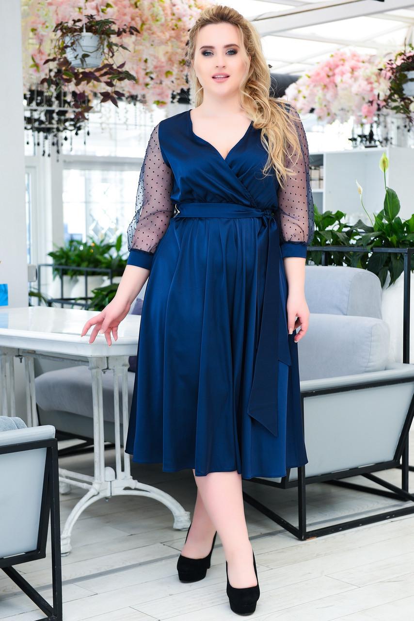 Нарядное платье больших размеров синее
