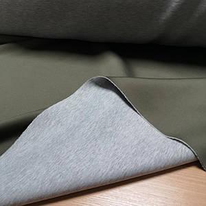Трикотаж неопрен двусторонний хаки с серым