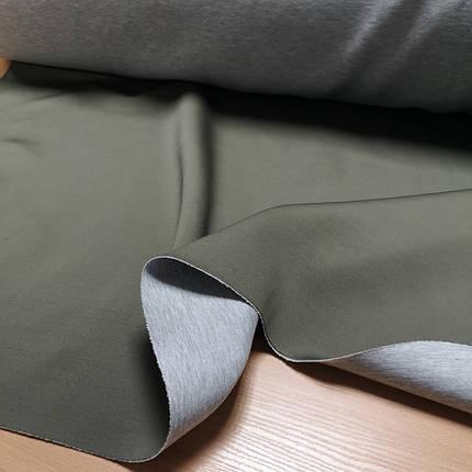 Трикотаж неопрен двусторонный хаки с серым, фото 2