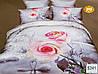 """Комплект постельного белья евро 3D сатин Elway S241 """"Розовые розы"""" - Фото"""