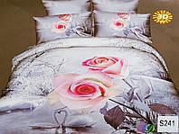 """Комплект постельного белья евро 3D сатин Elway S241 """"Розовые розы"""""""