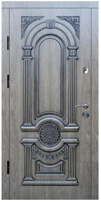 """Входные двери металлические, рис. """"Рим"""" №3, Цвет ПВХ-Ель карпатская, черная патина"""