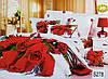 """Комплект постельного белья евро 3D сатин Elway S278 """"Красные розы"""" - Фото"""