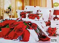 """Комплект постельного белья евро 3D сатин Elway S278 """"Красные розы"""""""