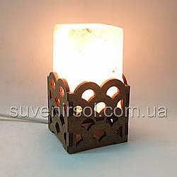 Соляной светильник Прямоугольник в дереве Волны
