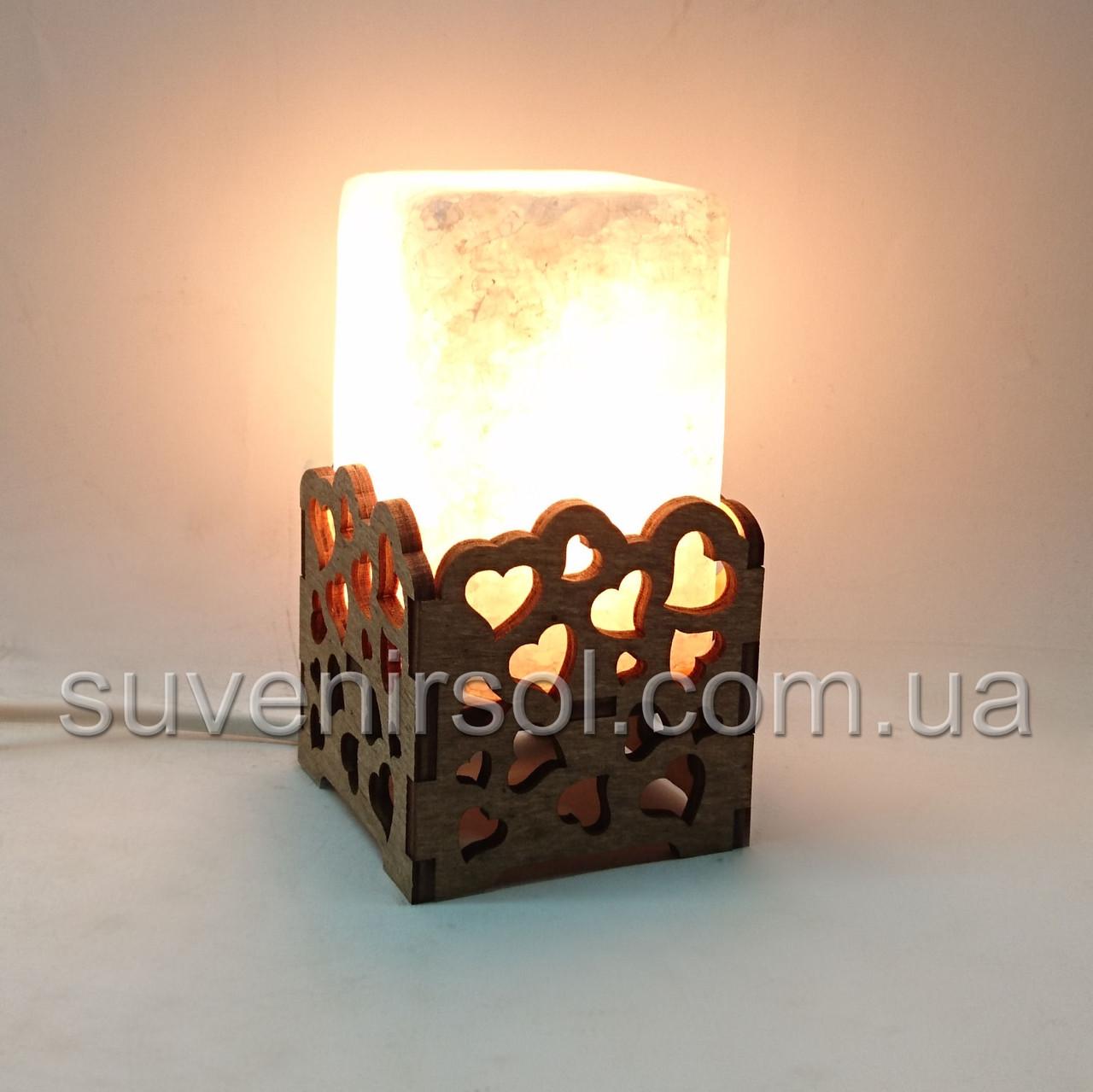Соляной светильник Прямоугольник в дереве Сердца