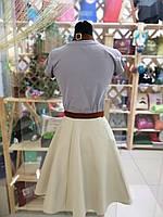 Фартух-сарафан з вишивкою імені \ логотипу \ тексту бежевий, фото 3