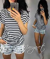 Женская футболка на лето, легкая полосатая футболка для девочек S/M