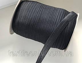 Трикотажна бейка стрейч колір чорний 15 мм