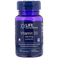Витамин D3, 5000 МЕ, 60 гелевых капсул, Life Extension