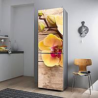 """Виниловая наклейка на холодильник """"Жёлтые цветы""""."""