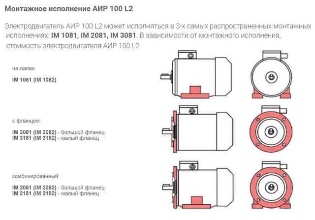 Габаритно-присоединительные размеры электродвигателя АИР 100 L2