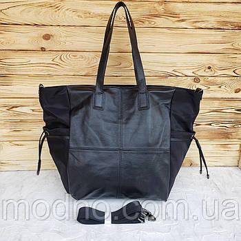Жіноча сумка з водовідштовхувального текстилю та натуральної шкіри