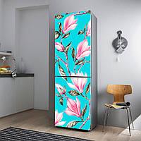 """Виниловая наклейка на холодильник """"Орхидеи на голубом фоне""""., фото 1"""