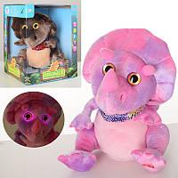 Мягкая игрушка MP 2591, динозавр,22 см,звук, повторюшка,свет, двиг.голов, 2 вида