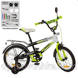 Велосипед детский PROF1 16д. SY1654, Inspirer,черно-бел-салат(мат), свет, звонок