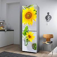 """Виниловая наклейка на холодильник """"Жёлтые подсолнухи""""., фото 1"""