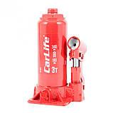 Домкрат бутылочный 3 т 180-340 мм гидравлический CARLIFE (BJ403), фото 2