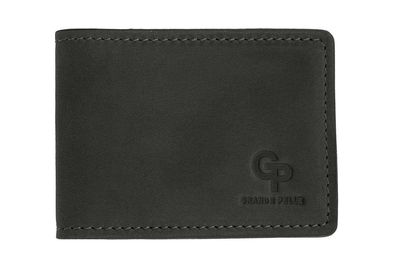 Шкіряний затиск для грошей і пластикових карток Grande Pelle, чоловічий гаманець чорного кольору, матовий