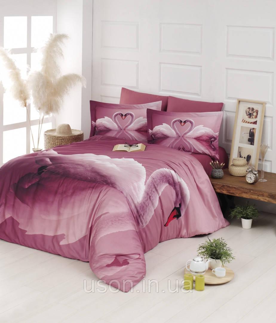 Комплект постельного белья сатин 3d First Choice евро размер Swan pudra