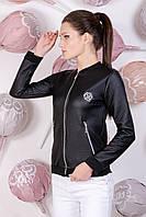 Женский модный спортивный бомбер куртка из чёрной эко кожи