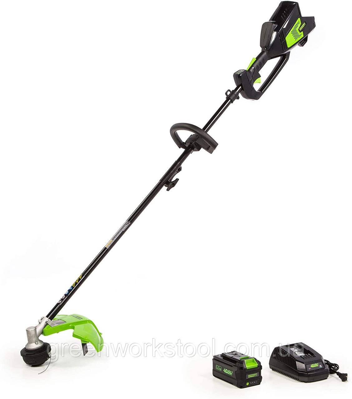 Аккумуляторный бесщеточный триммер,электрокоса, кусторез Greenworks Elite ST-140-AT  (Greenworks GD40BCK4)