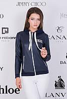Женский модный спортивный бомбер куртка из синей эко кожи с капюшоном и шнурками