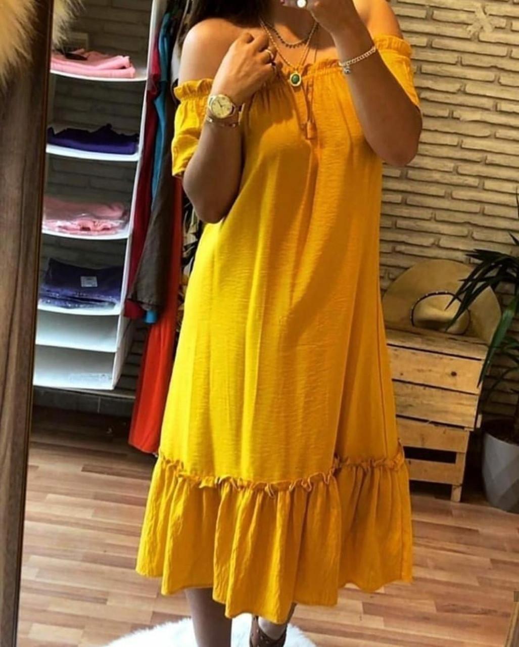 Летнее длинное платье с вырезом на плечи 42-46 (в расцветках)
