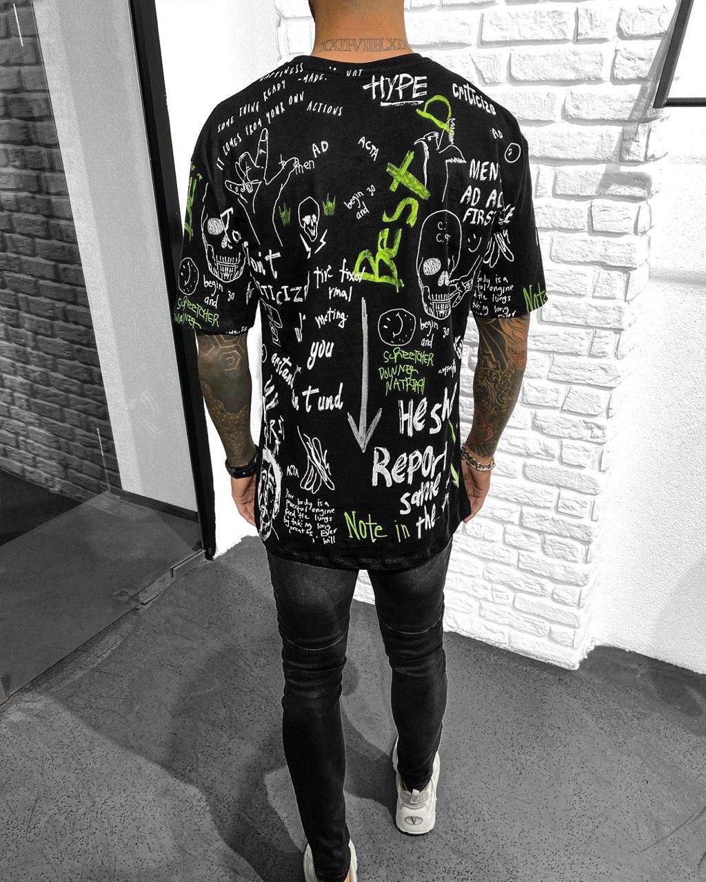 Футболка - Мужская черная футболка с надписями