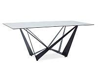 Стол стеклянный ASTON II CERAMIC SZARY EFEKT MARMURU/CZARNY MAT 180X90