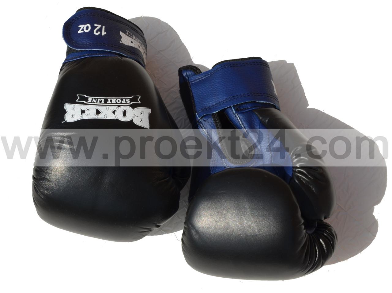 Перчатки бокс. 12 оz комбинированные, черные