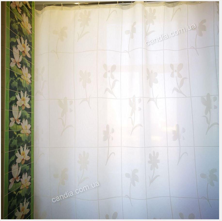 """Штора в ванную текстильная 180x200 см цвет белый """"Гарден"""", код 527"""