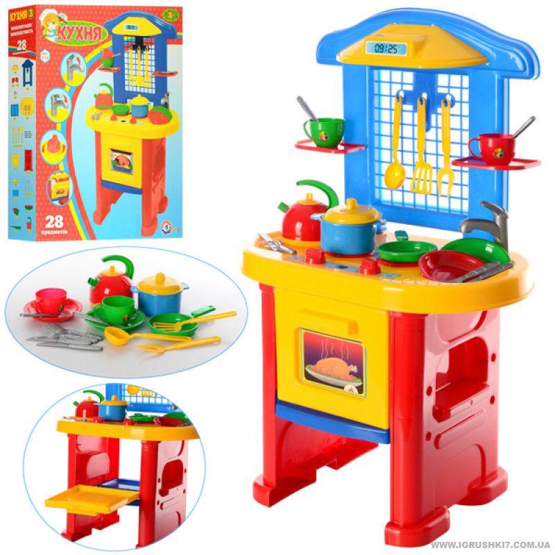 Детский игровой набор Кухня №3 большая ТЕХНОК 2124 аксессуары красная