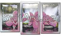 Схема для вышивки бисером на холсте с подрамником. Триптих . Розовые орхидеи.