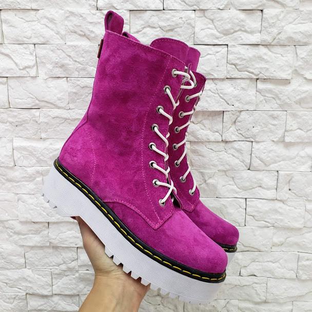 Женские демисезон ботинки Woodstock из натуральной замши фиолетовый  цвета