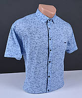 Мужская рубашка с коротким рукавом БОЛЬШОГО РАЗМЕРА синяя Турция 5033B размер 3XL