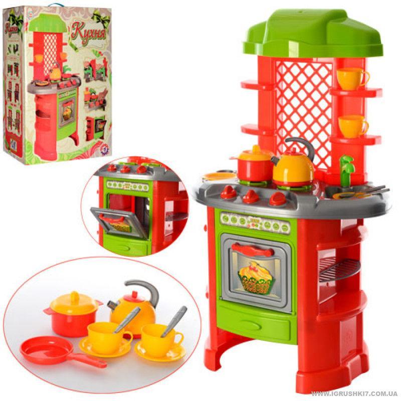 Детский игровой набор Кухня №7 большая ТЕХНОК 0847 аксессуары красно-салатовая