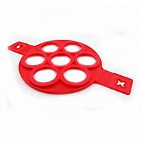 Силиконовая форма для оладий Flippin fantastic семь колец, диаметр 7см, красная, Форма для выпечки оладьев