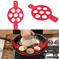 Форма силиконовая для приготовления оладий Flippin Fantastic семь колец, диаметр 7см, красная, Форма для выпечки оладьев